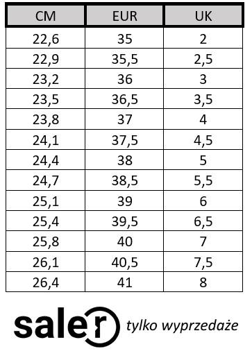 Tabela Rozmiarow Butow Calvin Klein Saler Pl Wyprzedaz I Promocje Modowe